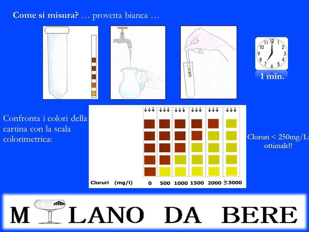 Come si misura? Come si misura? … provetta bianca … 1 min. Confronta i colori della cartina con la scala colorimetrica: Cloruri < 250mg/L: ottimale!!
