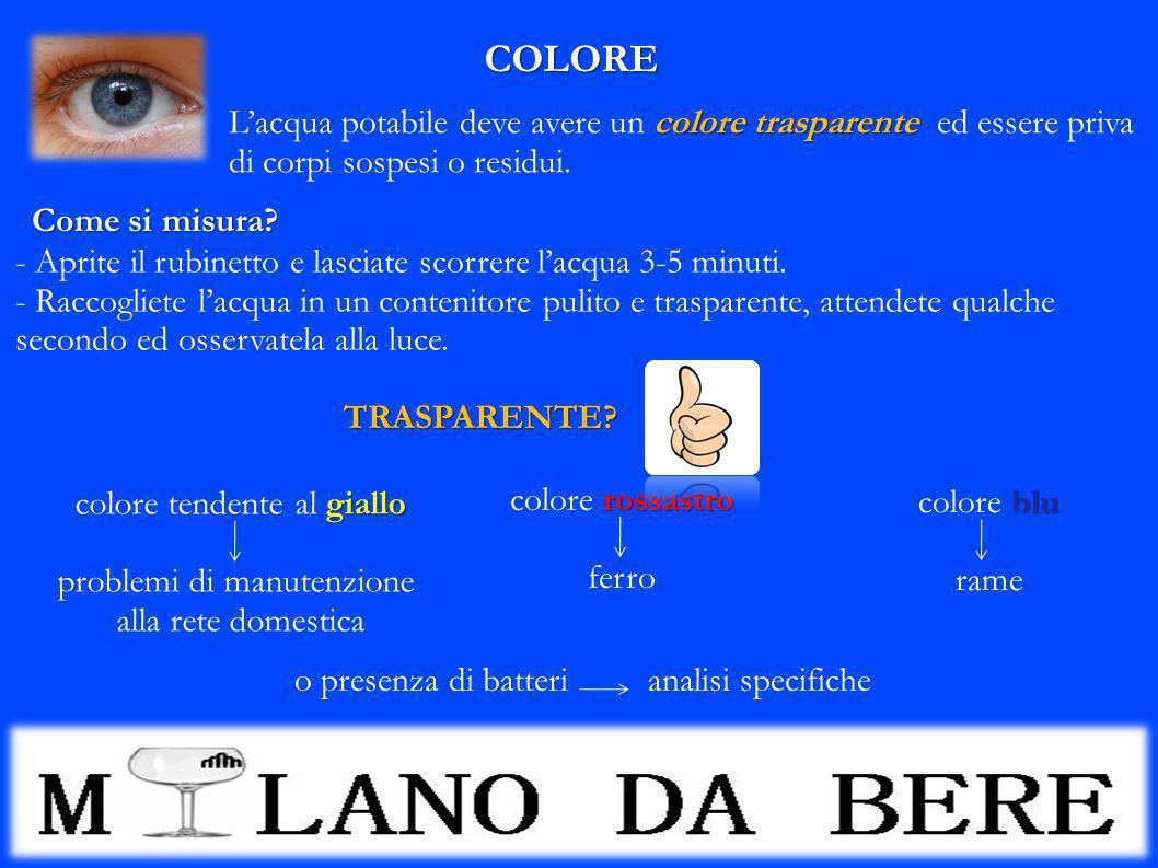 COLORE colore trasparente Lacqua potabile deve avere un colore trasparente ed essere priva di corpi sospesi o residui. giallo colore tendente al giall