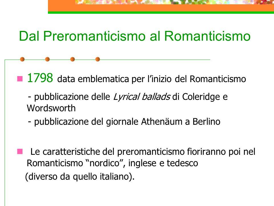 Dal Preromanticismo al Romanticismo 1798 data emblematica per linizio del Romanticismo - pubblicazione delle Lyrical ballads di Coleridge e Wordsworth