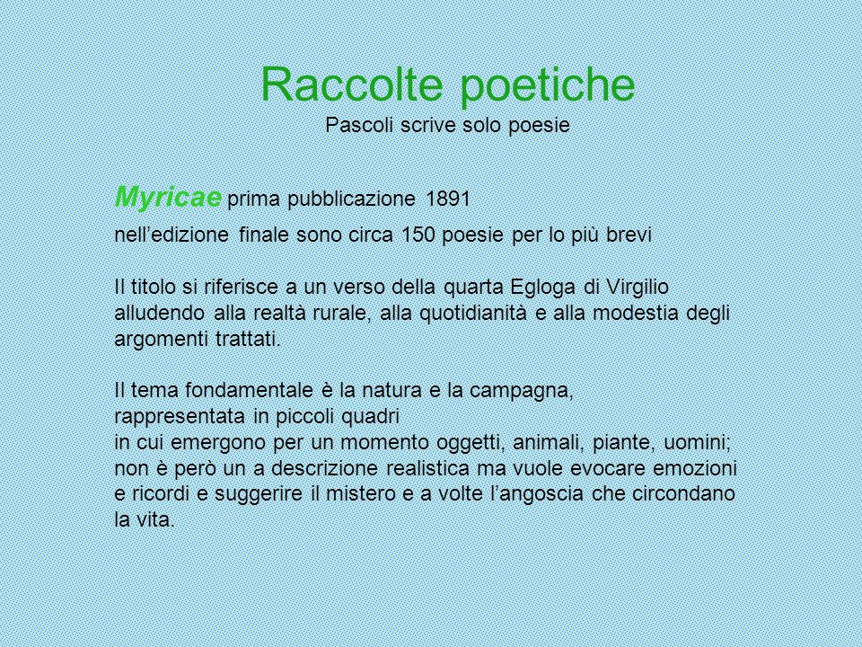 Raccolte poetiche Pascoli scrive solo poesie Myricae prima pubblicazione 1891 nelledizione finale sono circa 150 poesie per lo più brevi Il titolo si