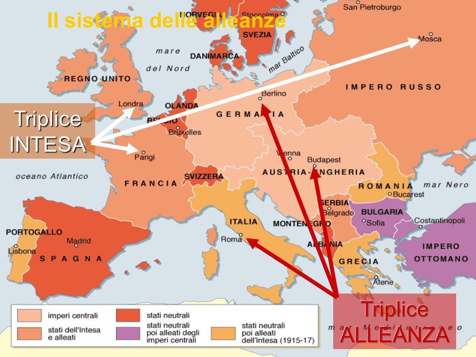 Europa in guerra iniziò subito la mobilitazione degli eserciti 28 luglio 1914: Austria – Serbia 29 luglio - 4 agosto: Germania, Russia, Francia, Inghilterra Le cause immediate Crisi balcaniche Austria aveva annesso Bosnia-Erzegovina, su cui cadevano le mire della Serbia Attentato a Sarajevo lerede al trono dAustria fu ucciso da un serbo LItalia si dichiarò inizialmente neutrale (perché la triplice allenza era difensiva) ma il dibatto interno vedeva contrapposti : Interventisti irredentisti, nazionalisti, socialisti rivoluzionari Neutralisti socialisti, cattolici, liberali giolittiani