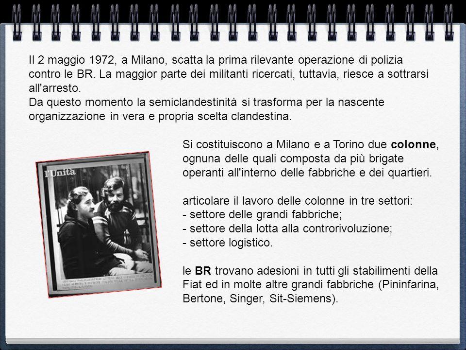 Il 2 maggio 1972, a Milano, scatta la prima rilevante operazione di polizia contro le BR. La maggior parte dei militanti ricercati, tuttavia, riesce a