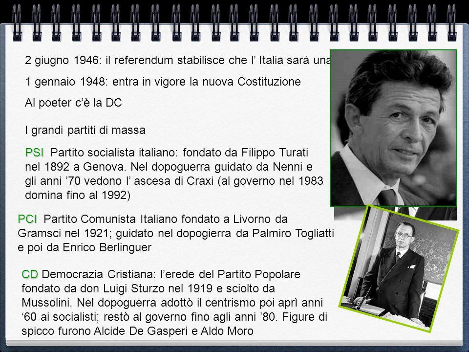 I grandi partiti di massa PCI PCI Partito Comunista Italiano fondato a Livorno da Gramsci nel 1921; guidato nel dopogierra da Palmiro Togliatti e poi