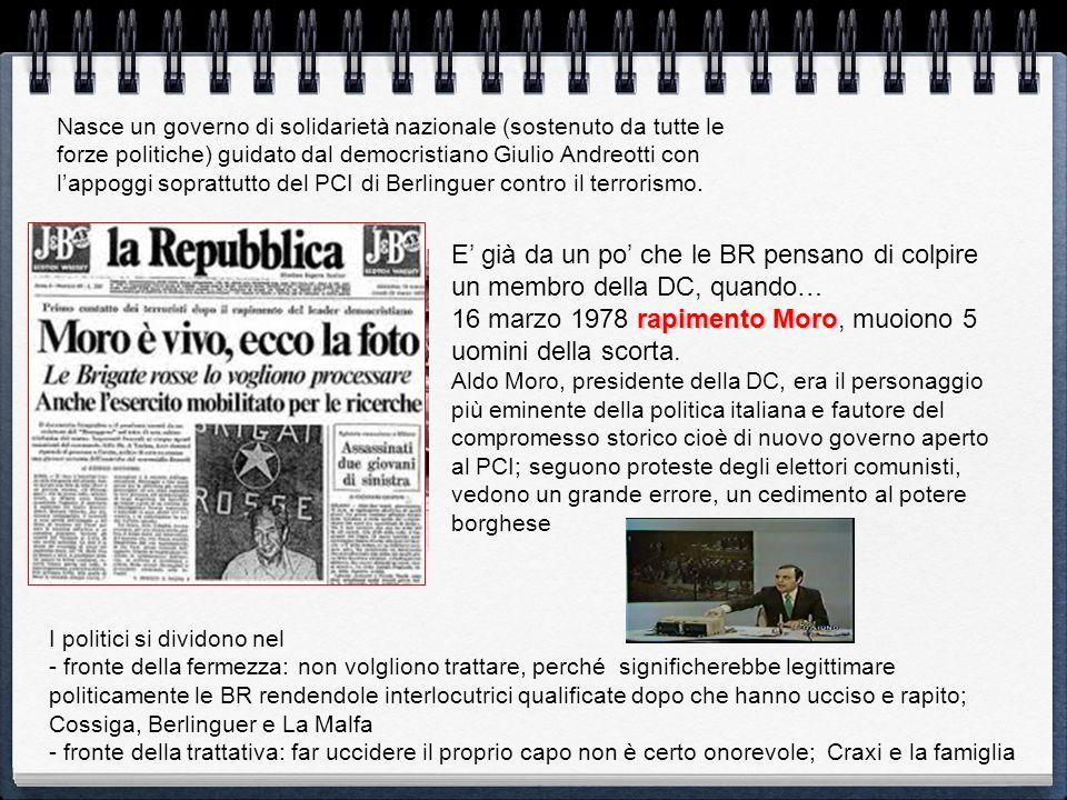 E già da un po che le BR pensano di colpire un membro della DC, quando… rapimento Moro 16 marzo 1978 rapimento Moro, muoiono 5 uomini della scorta. Al