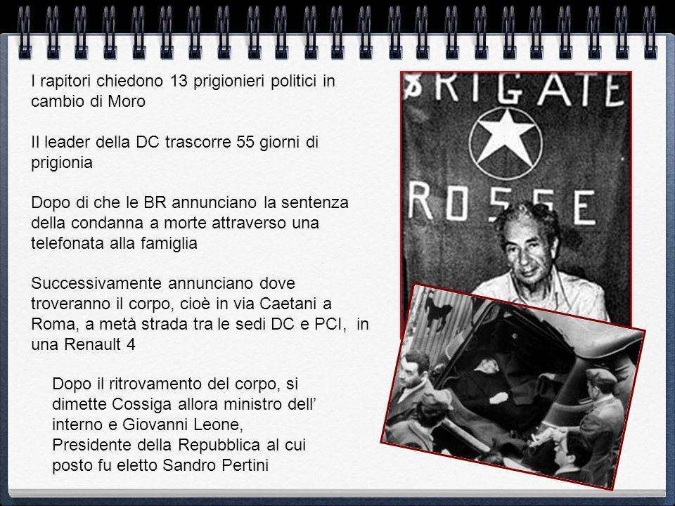 I rapitori chiedono 13 prigionieri politici in cambio di Moro Il leader della DC trascorre 55 giorni di prigionia Dopo di che le BR annunciano la sent