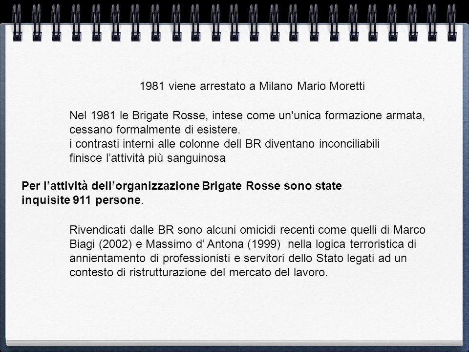 Nel 1981 le Brigate Rosse, intese come un'unica formazione armata, cessano formalmente di esistere. i contrasti interni alle colonne dell BR diventano