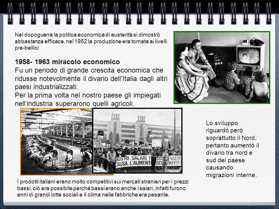Nel dopoguerra la politica economica di austerità si dimostrò abbastanza efficace, nel 1952 la produzione era tornata ai livelli pre-bellici 1958- 196