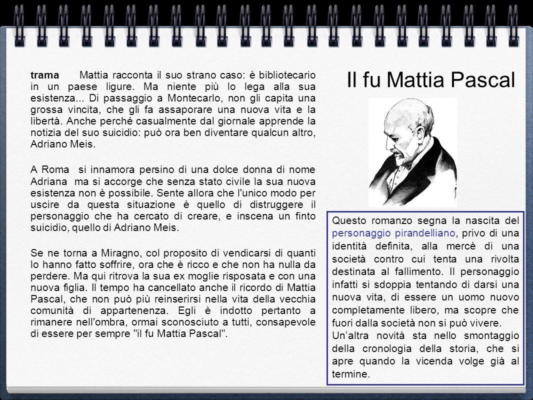 trama Mattia racconta il suo strano caso: è bibliotecario in un paese ligure. Ma niente più lo lega alla sua esistenza... Di passaggio a Montecarlo, n