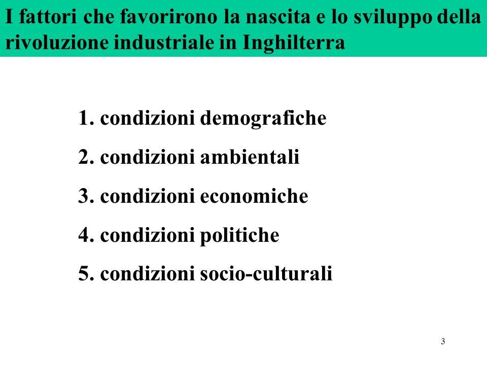 3 1. condizioni demografiche 2. condizioni ambientali 3. condizioni economiche 4. condizioni politiche 5. condizioni socio-culturali I fattori che fav