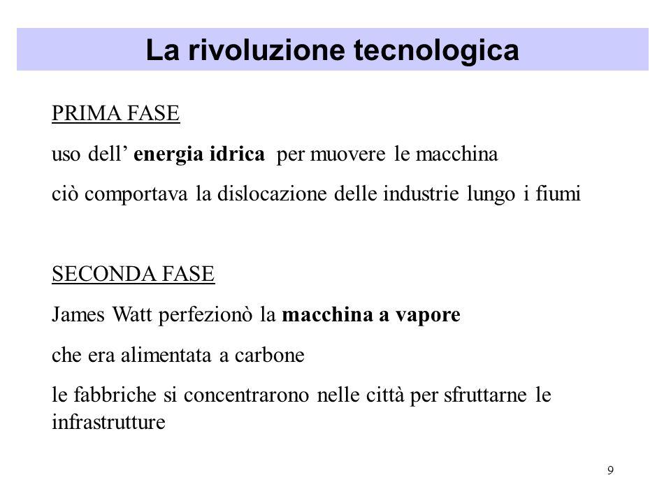9 La rivoluzione tecnologica PRIMA FASE uso dell energia idrica per muovere le macchina ciò comportava la dislocazione delle industrie lungo i fiumi S