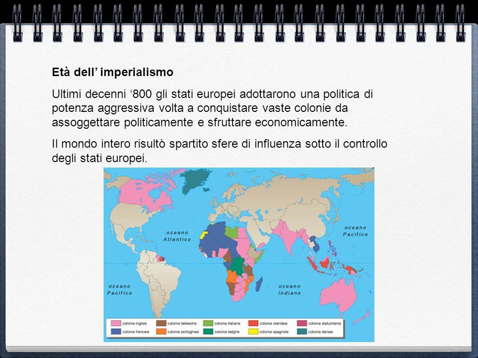 Età dell imperialismo Ultimi decenni 800 gli stati europei adottarono una politica di potenza aggressiva volta a conquistare vaste colonie da assogget