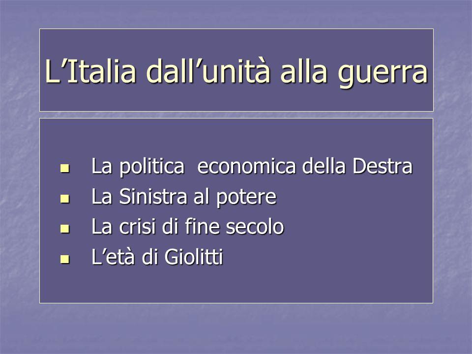LItalia dallunità alla guerra La politica economica della Destra La politica economica della Destra La Sinistra al potere La Sinistra al potere La cri