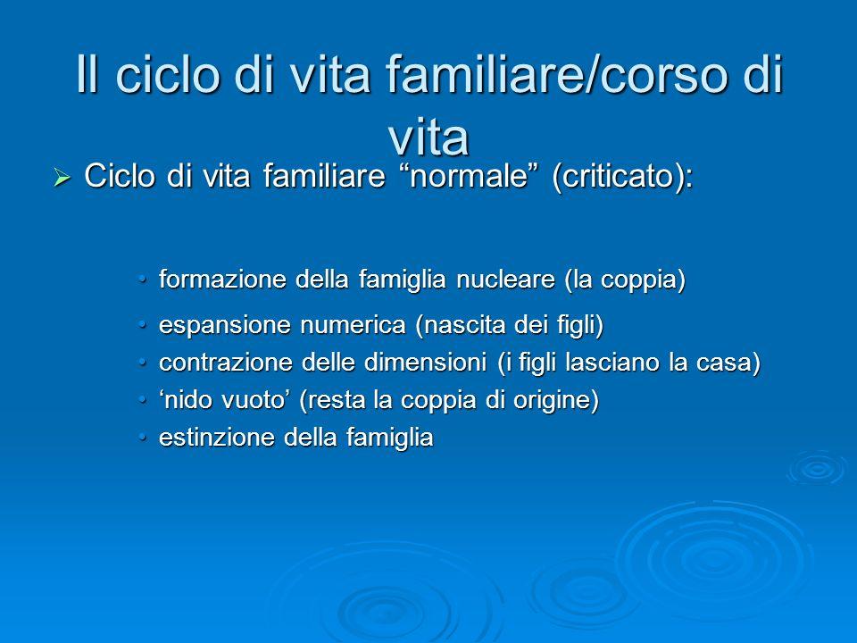 Il ciclo di vita familiare/corso di vita Ciclo di vita familiare normale (criticato): Ciclo di vita familiare normale (criticato): formazione della fa
