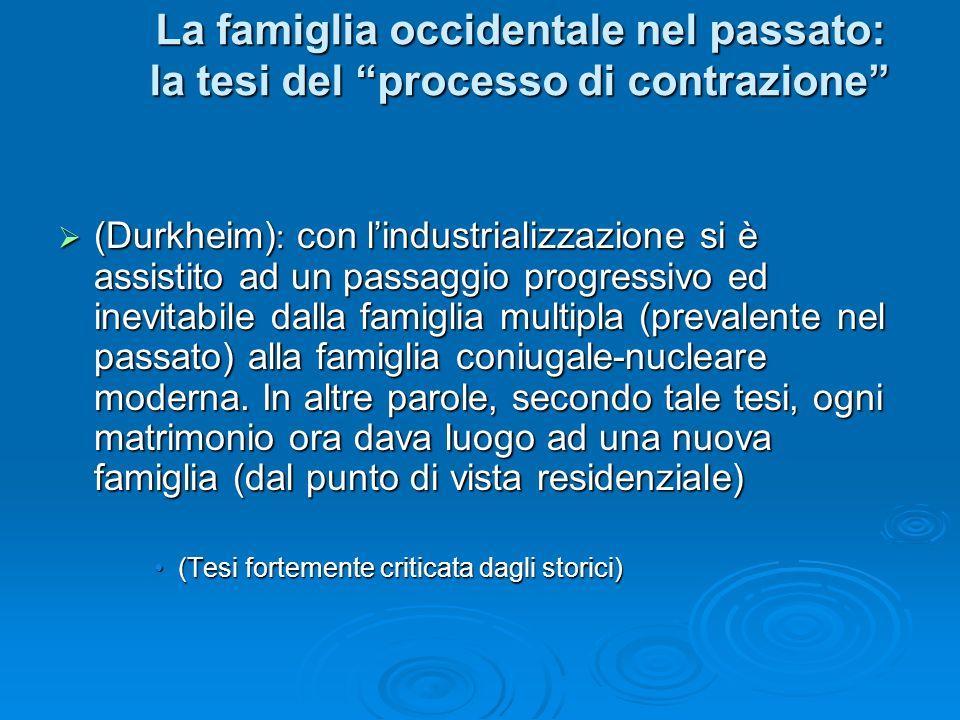 La famiglia occidentale nel passato: la tesi del processo di contrazione (Durkheim) : con lindustrializzazione si è assistito ad un passaggio progress