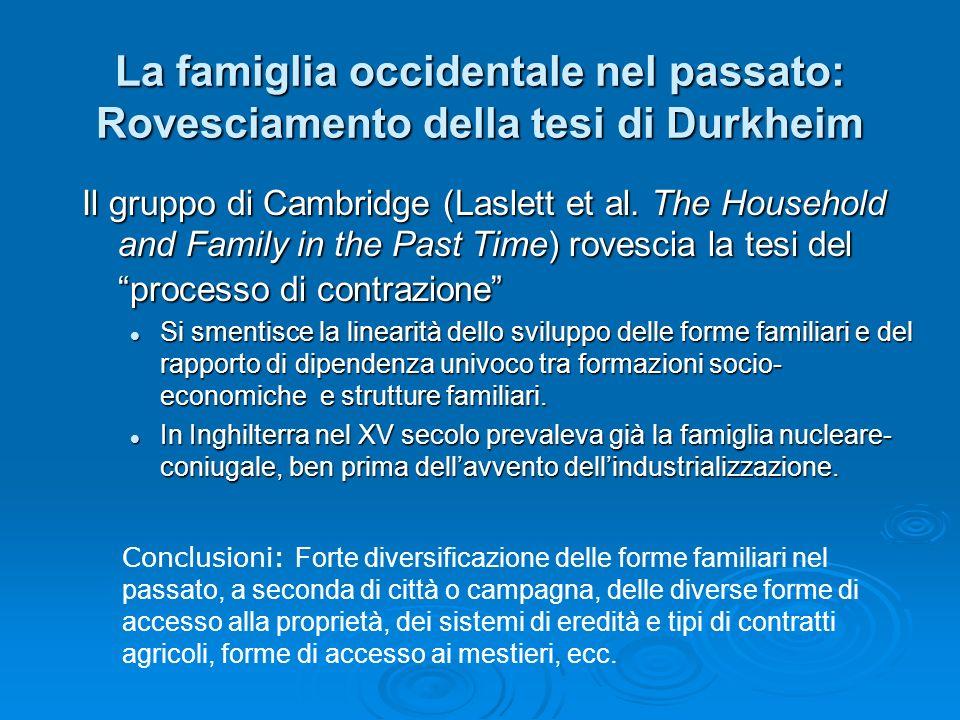 La famiglia occidentale nel passato: Rovesciamento della tesi di Durkheim Il gruppo di Cambridge (Laslett et al. The Household and Family in the Past