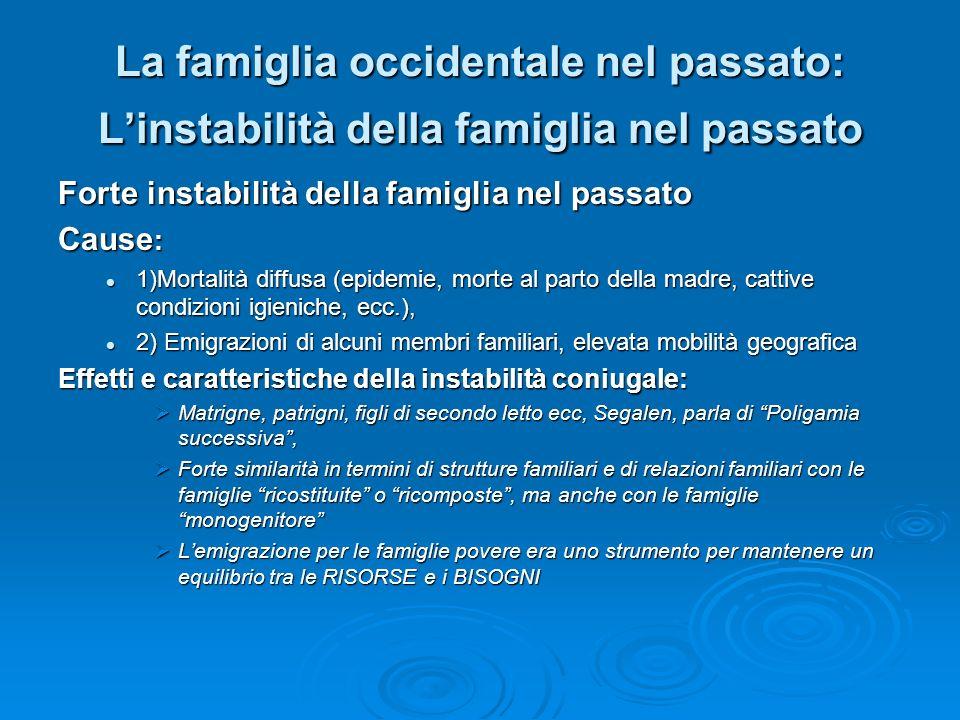 La famiglia occidentale nel passato: Linstabilità della famiglia nel passato Forte instabilità della famiglia nel passato Cause : 1)Mortalità diffusa