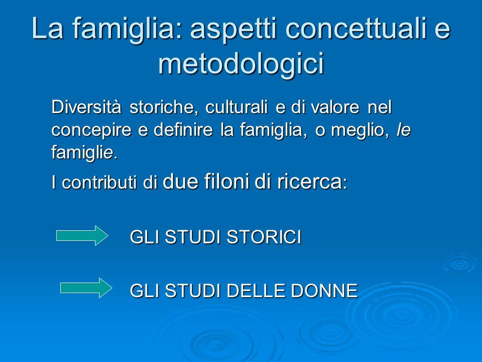 La famiglia: aspetti concettuali e metodologici Diversità storiche, culturali e di valore nel concepire e definire la famiglia, o meglio, le famiglie.
