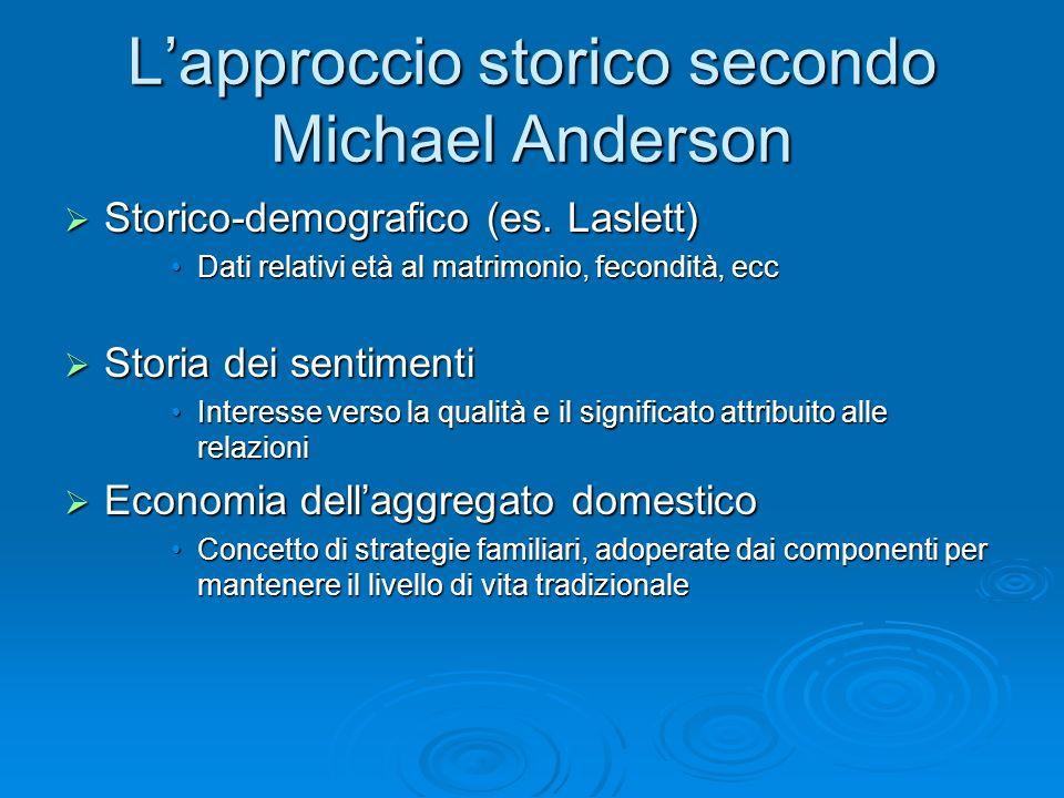 Lapproccio storico secondo Michael Anderson Storico-demografico (es. Laslett) Storico-demografico (es. Laslett) Dati relativi età al matrimonio, fecon