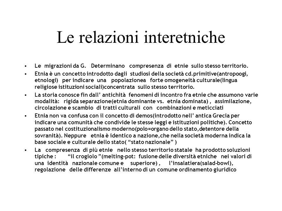 Le relazioni interetniche Le migrazioni da G. Determinano compresenza di etnie sullo stesso territorio. Etnia è un concetto introdotto dagli studiosi