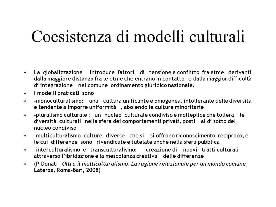 Coesistenza di modelli culturali La globalizzazione introduce fattori di tensione e conflitto fra etnie derivanti dalla maggiore distanza fra le etnie che entrano in contatto e dalla maggior difficoltà di integrazione nel comune ordinamento giuridico nazionale.