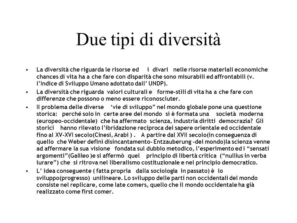 Due tipi di diversità La diversità che riguarda le risorse ed i divari nelle risorse materiali economiche chances di vita ha a che fare con disparità