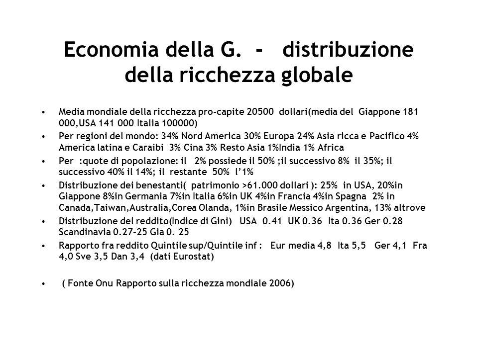 Economia della G. - distribuzione della ricchezza globale Media mondiale della ricchezza pro-capite 20500 dollari(media del Giappone 181 000,USA 141 0