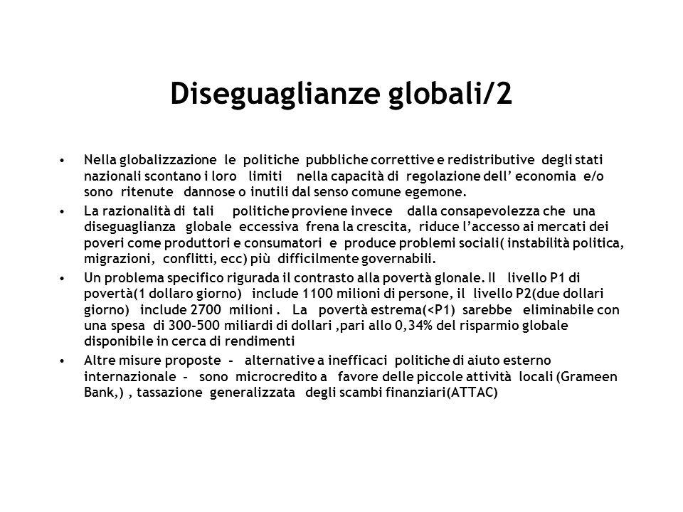 Diseguaglianze globali/2 Nella globalizzazione le politiche pubbliche correttive e redistributive degli stati nazionali scontano i loro limiti nella capacità di regolazione dell economia e/o sono ritenute dannose o inutili dal senso comune egemone.