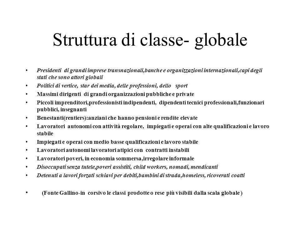 Struttura di classe- globale Presidenti di grandi imprese transnazionali,banche e organizzazioni internazionali,capi degli stati che sono attori globa