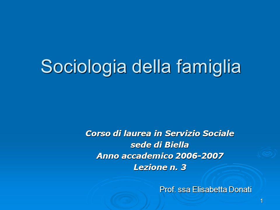 1 Sociologia della famiglia Corso di laurea in Servizio Sociale sede di Biella Anno accademico 2006-2007 Lezione n. 3 Prof. ssa Elisabetta Donati