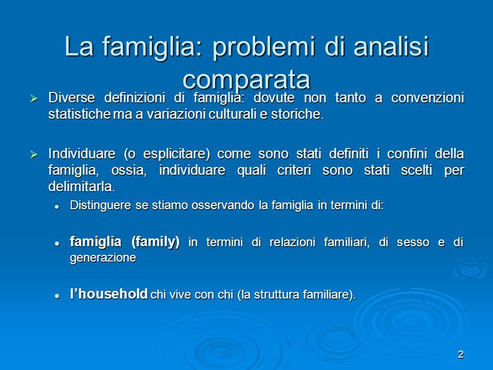 2 La famiglia: problemi di analisi comparata Diverse definizioni di famiglia: dovute non tanto a convenzioni statistiche ma a variazioni culturali e s