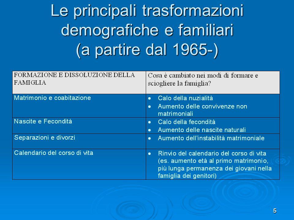 5 Le principali trasformazioni demografiche e familiari (a partire dal 1965-)