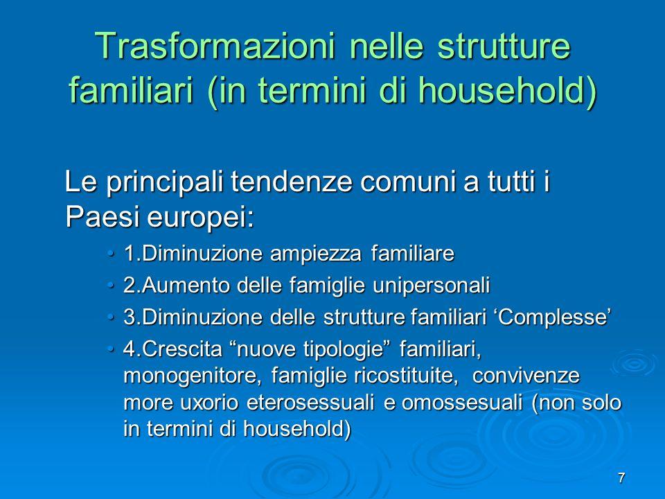 7 Trasformazioni nelle strutture familiari (in termini di household) Le principali tendenze comuni a tutti i Paesi europei: Le principali tendenze com