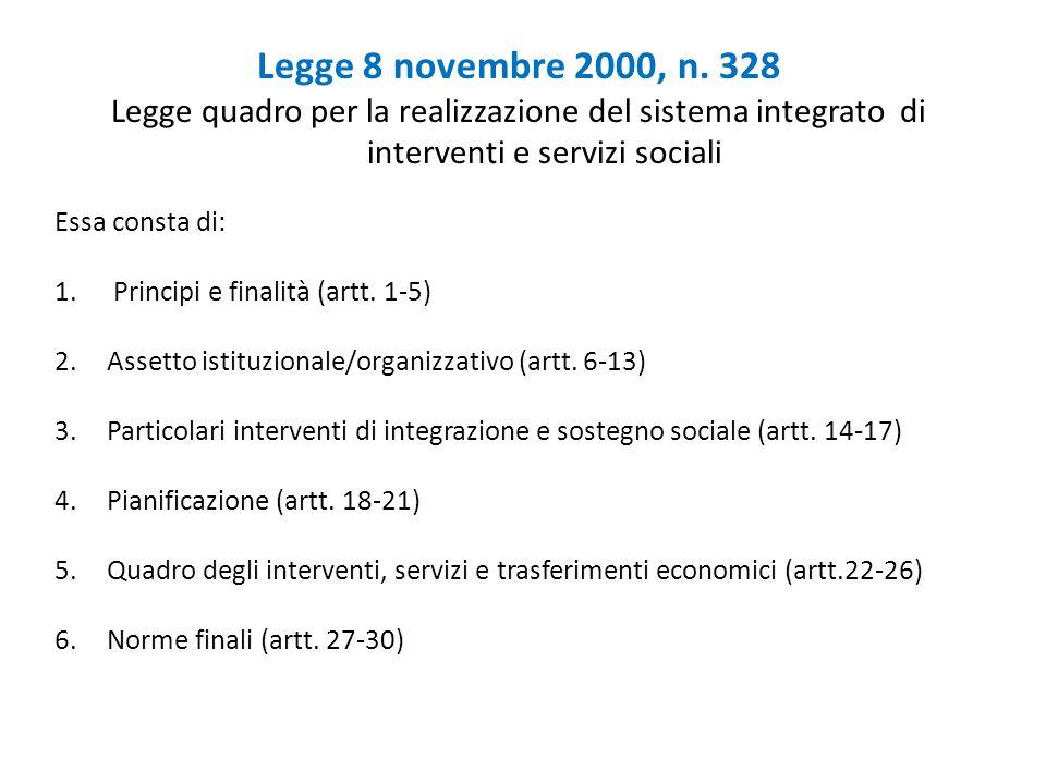 Legge 8 novembre 2000, n. 328 Legge quadro per la realizzazione del sistema integrato di interventi e servizi sociali Essa consta di: 1. Principi e fi