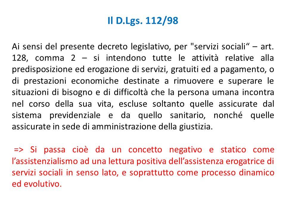 Il D.Lgs. 112/98 Ai sensi del presente decreto legislativo, per