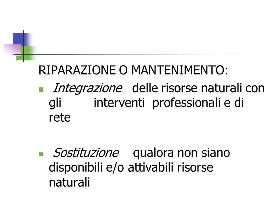 RIPARAZIONE O MANTENIMENTO: Integrazione delle risorse naturali con gli interventi professionali e di rete Sostituzione qualora non siano disponibili