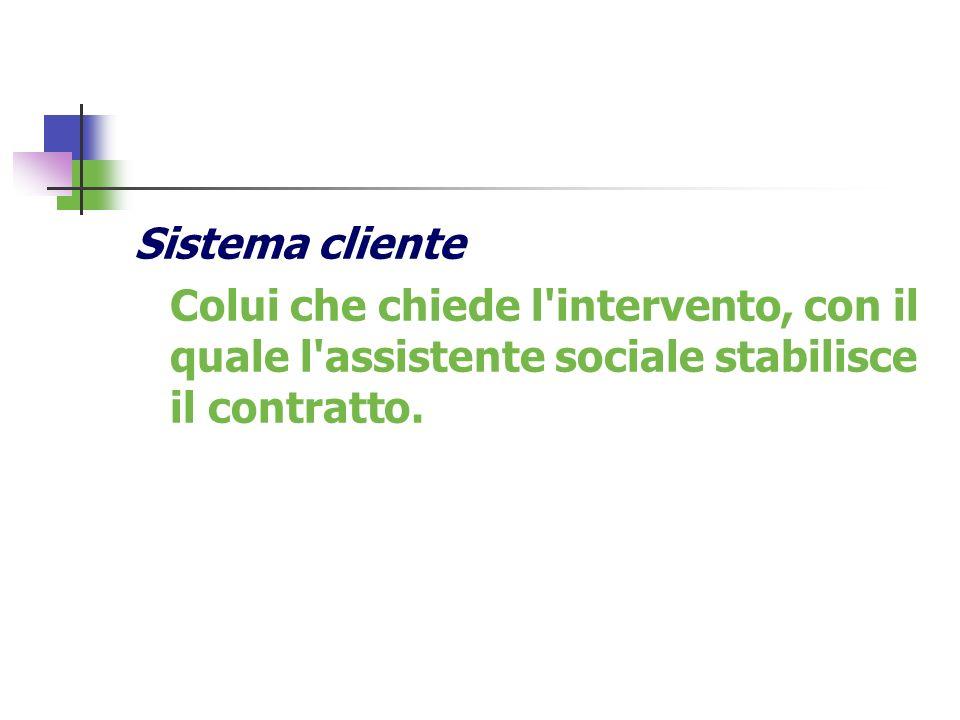 Sistema cliente Colui che chiede l'intervento, con il quale l'assistente sociale stabilisce il contratto.