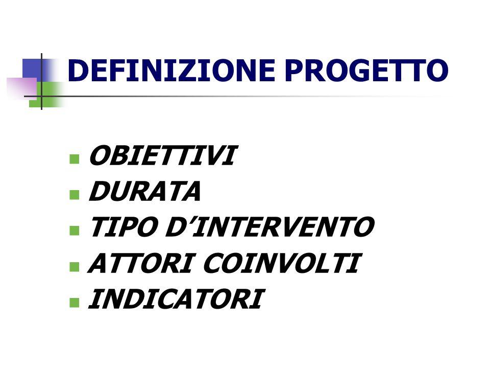 PROGETTO DI INTERVENTO DEFINIZIONE DEGLI OBIETTIVI GENERALE (produrre cambiamento) PARTICOLARI, SPECIFICI