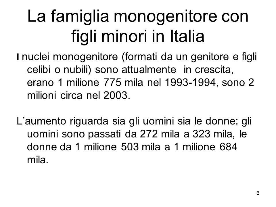 6 La famiglia monogenitore con figli minori in Italia I nuclei monogenitore (formati da un genitore e figli celibi o nubili) sono attualmente in cresc