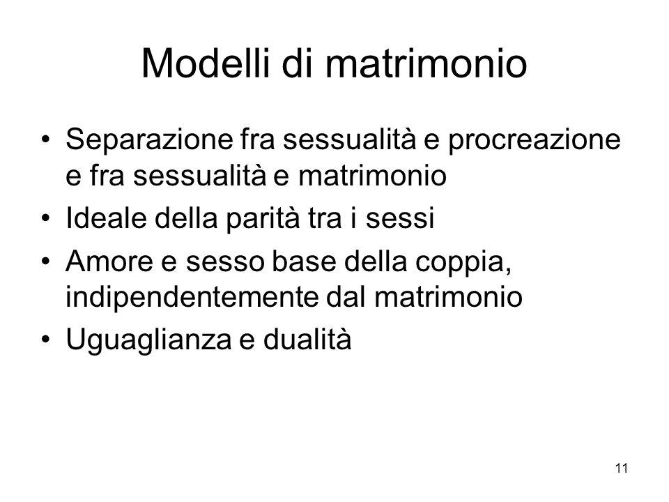 11 Modelli di matrimonio Separazione fra sessualità e procreazione e fra sessualità e matrimonio Ideale della parità tra i sessi Amore e sesso base de