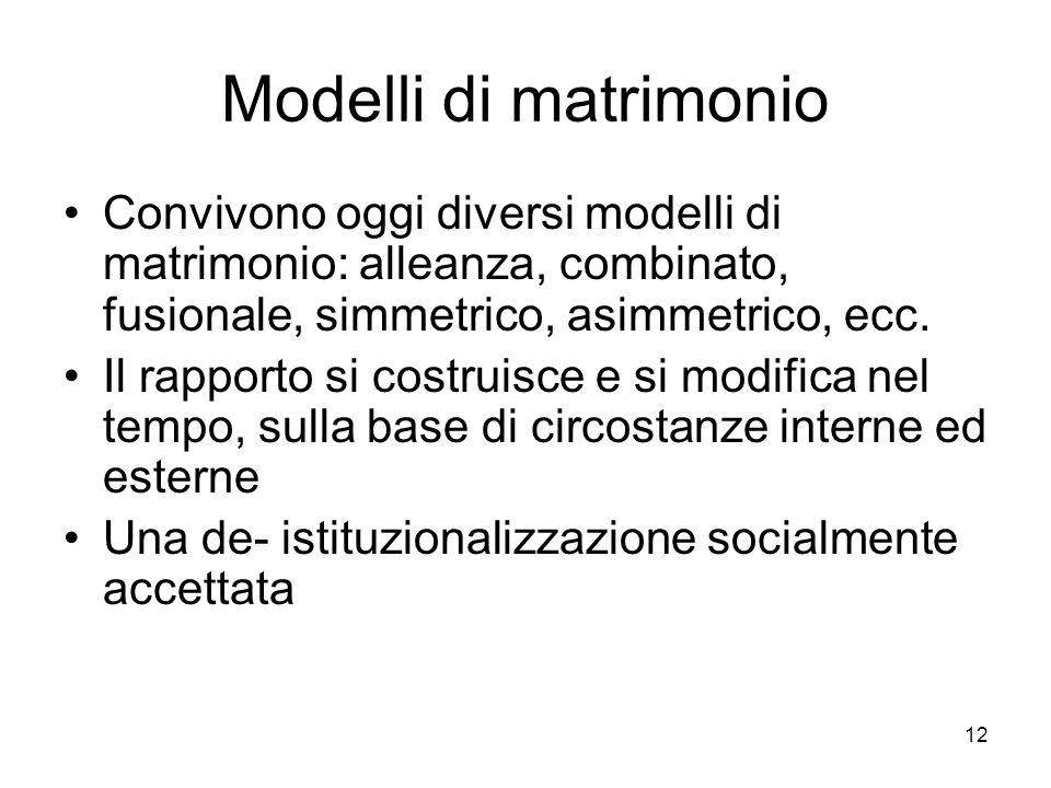 12 Modelli di matrimonio Convivono oggi diversi modelli di matrimonio: alleanza, combinato, fusionale, simmetrico, asimmetrico, ecc. Il rapporto si co