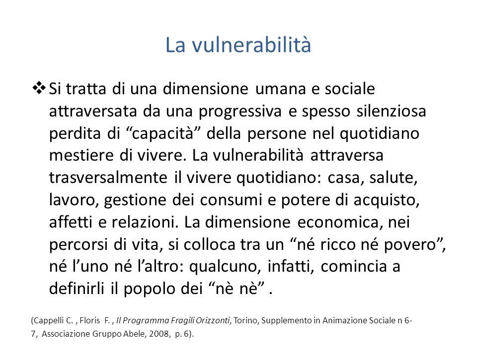 La vulnerabilità Si tratta di una dimensione umana e sociale attraversata da una progressiva e spesso silenziosa perdita di capacità della persone nel quotidiano mestiere di vivere.