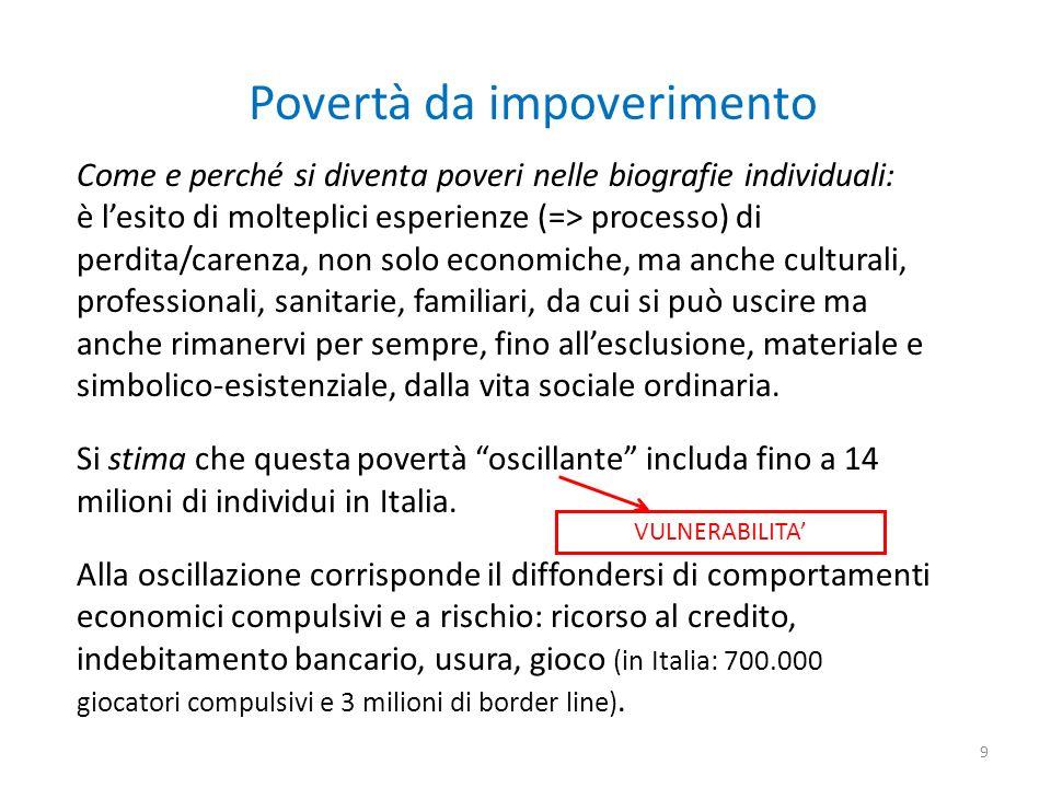 Povertà da impoverimento Come e perché si diventa poveri nelle biografie individuali: è lesito di molteplici esperienze (=> processo) di perdita/caren