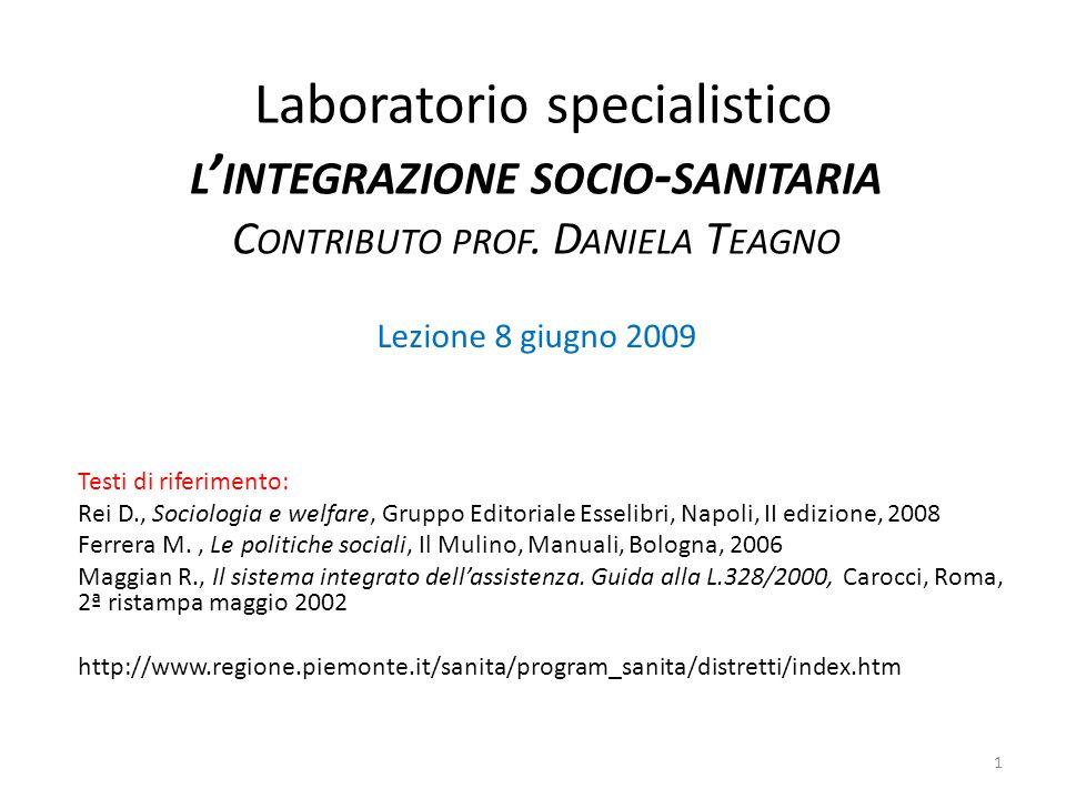 Livelli e tipi di integrazione socio-sanitaria (3) c.
