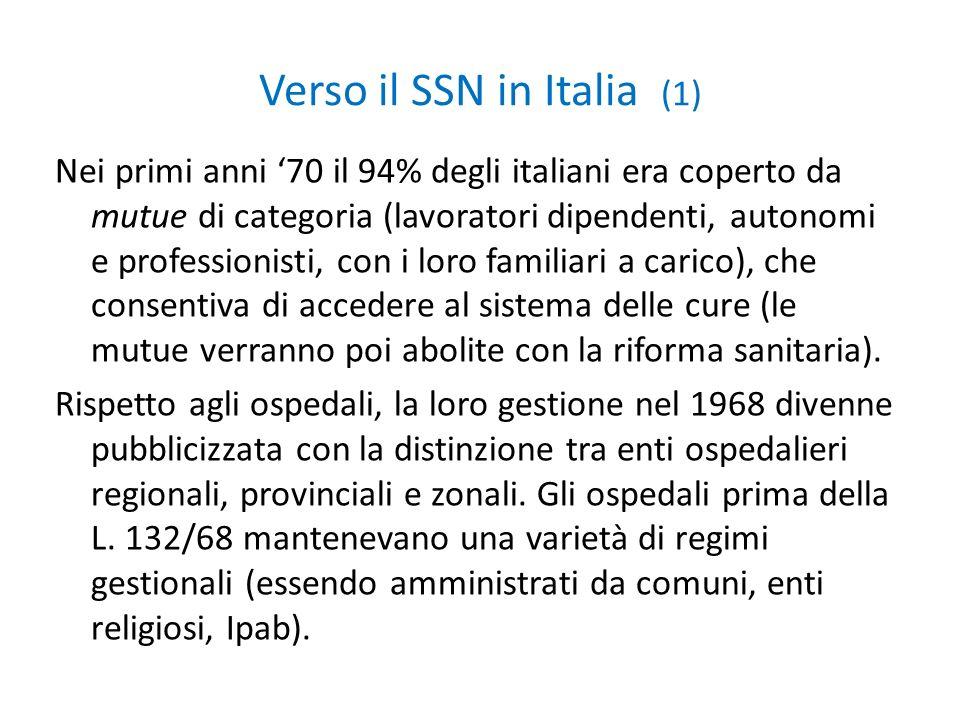 Verso il SSN in Italia (1) Nei primi anni 70 il 94% degli italiani era coperto da mutue di categoria (lavoratori dipendenti, autonomi e professionisti