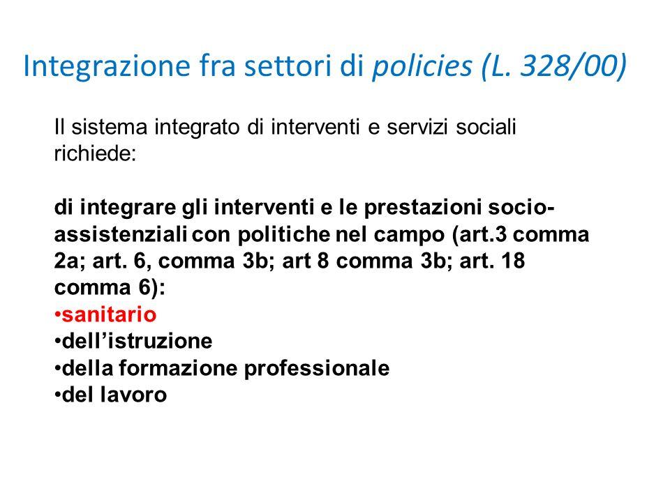 Il sistema integrato di interventi e servizi sociali richiede: di integrare gli interventi e le prestazioni socio- assistenziali con politiche nel cam