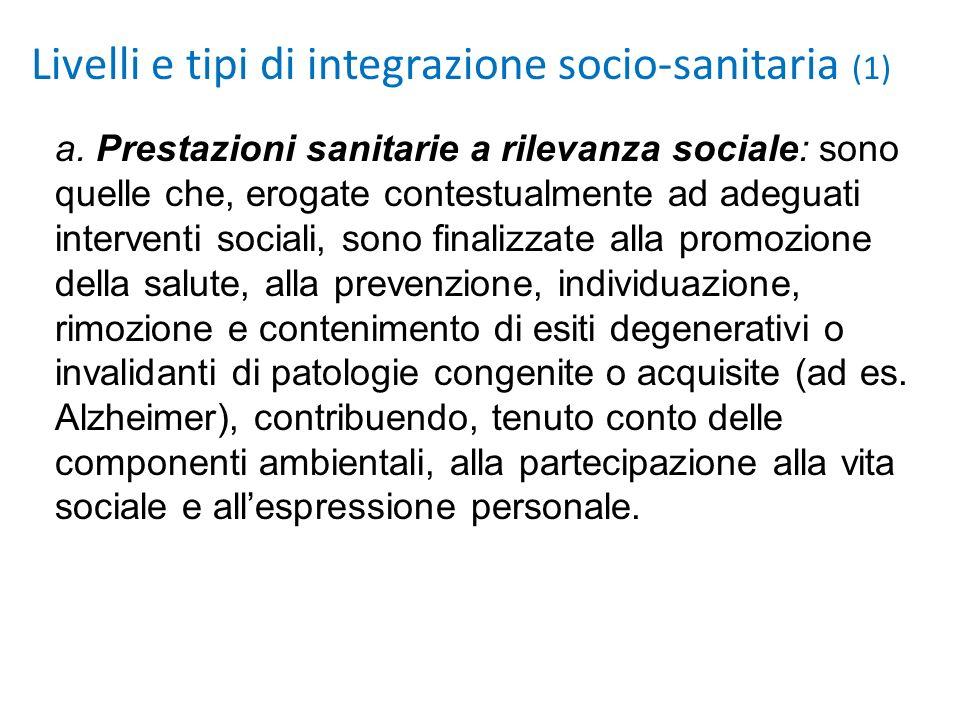 a. Prestazioni sanitarie a rilevanza sociale: sono quelle che, erogate contestualmente ad adeguati interventi sociali, sono finalizzate alla promozion