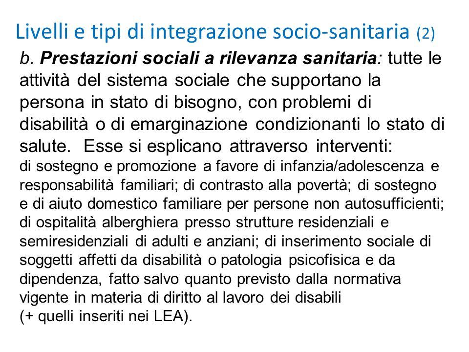 Livelli e tipi di integrazione socio-sanitaria (2) b. Prestazioni sociali a rilevanza sanitaria: tutte le attività del sistema sociale che supportano