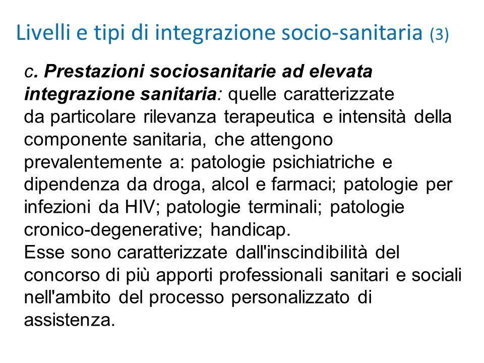 Livelli e tipi di integrazione socio-sanitaria (3) c. Prestazioni sociosanitarie ad elevata integrazione sanitaria: quelle caratterizzate da particola