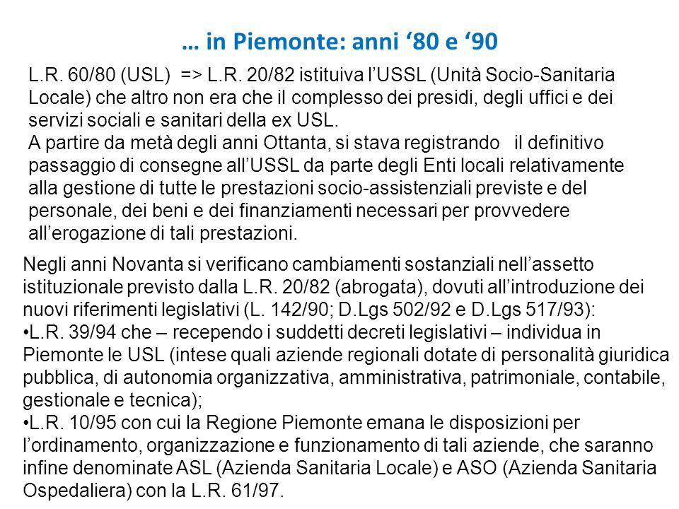 L.R. 60/80 (USL) => L.R. 20/82 istituiva lUSSL (Unità Socio-Sanitaria Locale) che altro non era che il complesso dei presidi, degli uffici e dei servi