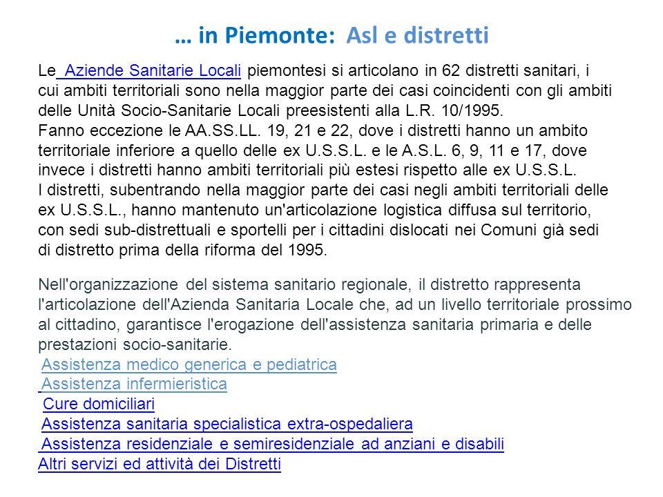 … in Piemonte: Asl e distretti Le Aziende Sanitarie Locali piemontesi si articolano in 62 distretti sanitari, i cui ambiti territoriali sono nella mag